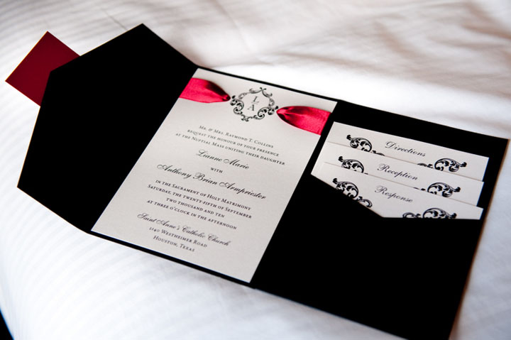 Red White And Black Wedding Invitations