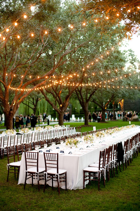Wedding Reception Nasher Sculpture Center Long Tables  Significant