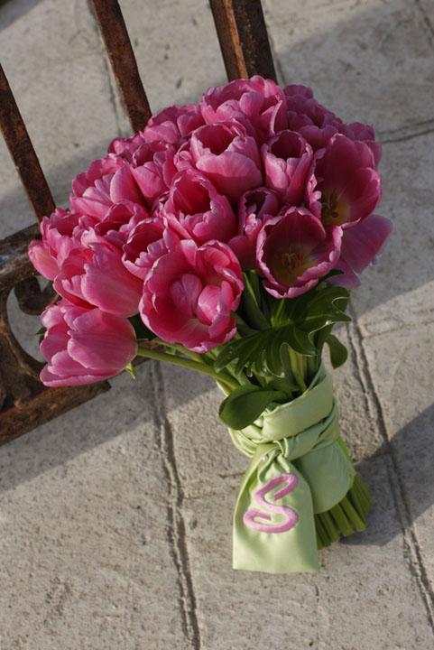 4 Wedding Pink Tulip Bouquet