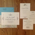 0-Travel Themed Wedding Invitation, Ivory & Teal Wedding Invitation
