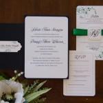 1-Black, White, & Green Invitations