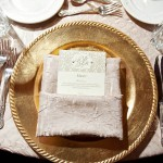 37-Taupe & Ivory Menu Card with Pearls; Gold Chargers Wedding
