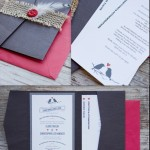 Black, White, & Red Wedding Invitations, Love Bird Wedding Invitations