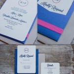 Navy & Pink Wedding Invitations