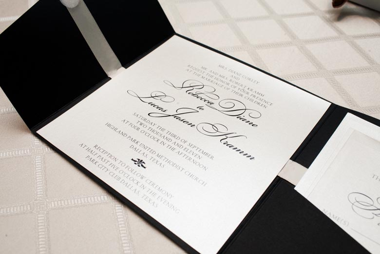 Black White Wedding Invitations: 1-Black & White Wedding Invitation