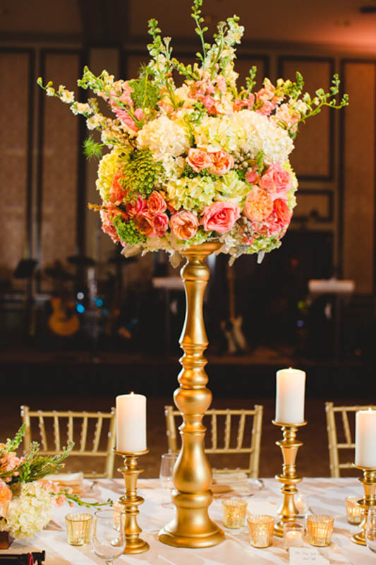 31-Peach, Green, & Gold Centerpiece, Adolphus Hotel Wedding - Significant Events of Texas ...