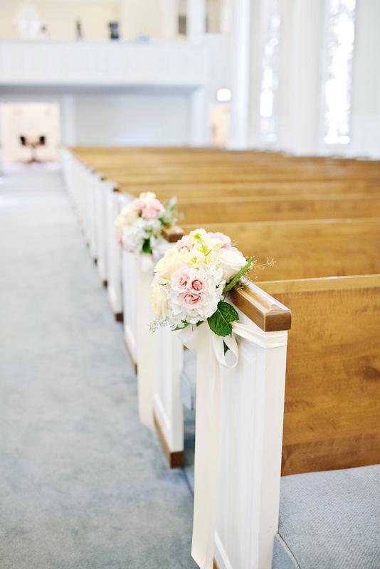 Blush Peach Ivory Pew Flowers Royal Lane Baptist Church Wedding