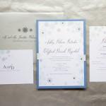 1-Winter Wonderland Wedding Invitations; Blue, White & SIlver Invitations; Snowflake Invitations