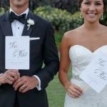 25-Pink, Gray, & White wedding program; Fan wedding program