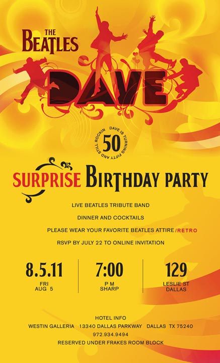 """""""All You Need is Dave!"""": Dave's Surprise 50th Birthday ..."""