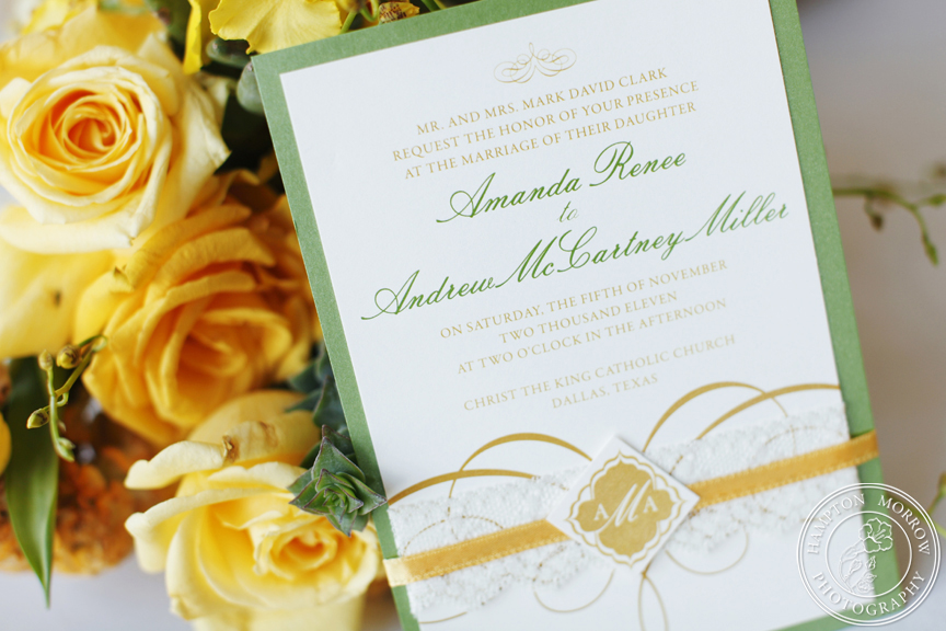 1-Green & Yellow Wedding Invitation - Significant Events of Texas ...