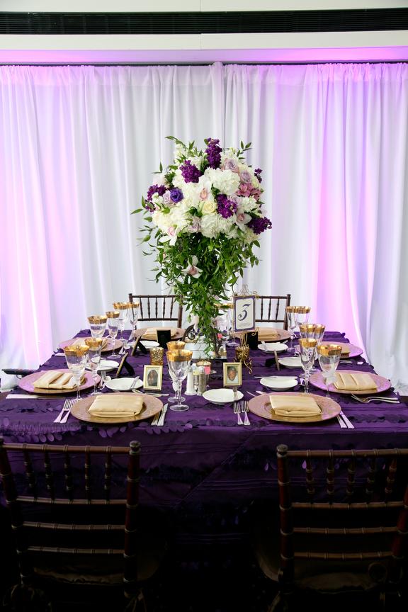 13-Purple, Green, & Gold Wedding, Sky Lobby Wedding ...