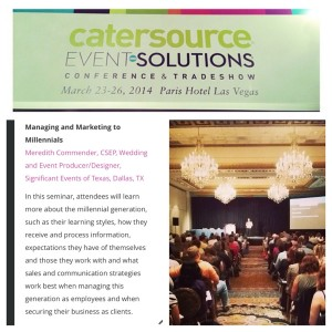 """Meredith had a great turnout and has received rave reviews for her presentation on """"Managing and Marketing to Millenials"""" at the 2014 Event Solutions conference. She enjoyed learning from other industry leaders at subsequent sessions throughout the conference!"""
