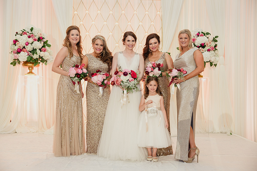 Ivory and gold bridesmaid dresses for Pink and gold wedding dress