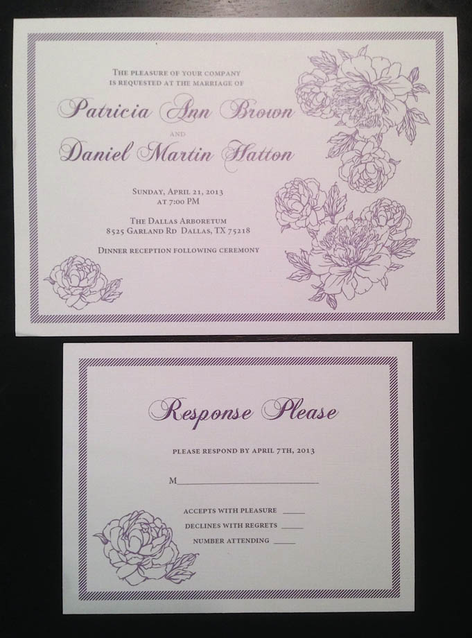 0-Purple & White Invitation