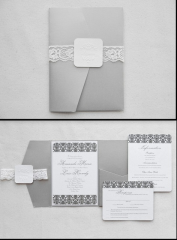 0-Taupe & White Damask Invitations