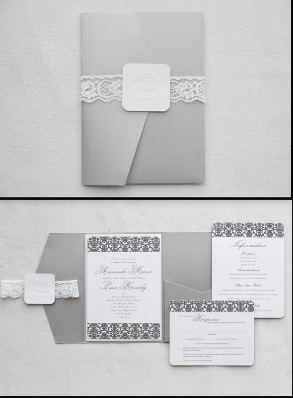 0-Taupe & White Damask Invitations