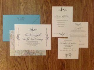 0-Travel Themed Wedding Invitation, Ivory & Teal Wedding Invitation