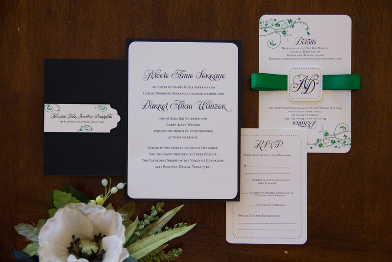 1-Black, White, & Green Invitations