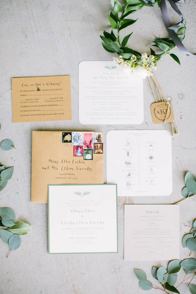 1-Green, Gray, and Kraft Invitations