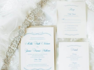 1-Ivory, Gold, & Navy Invitation
