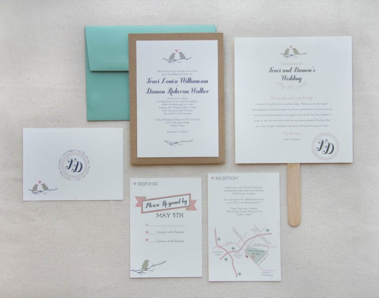 1-Love Birds Wedding Invitation