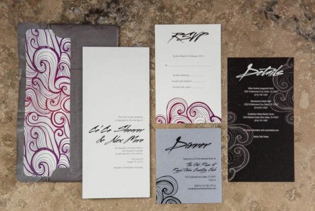 1-Modern Wedding Invitations, Edgy Wedding Invitations, Black, White, Red & Purple Wedding Invitations; Swirl Wedding Invitations; Ombre Wedding Invitations