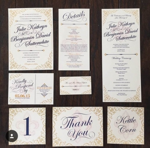1-Navy, Gold, Ivory Fleur de Lis Wedding Invitations
