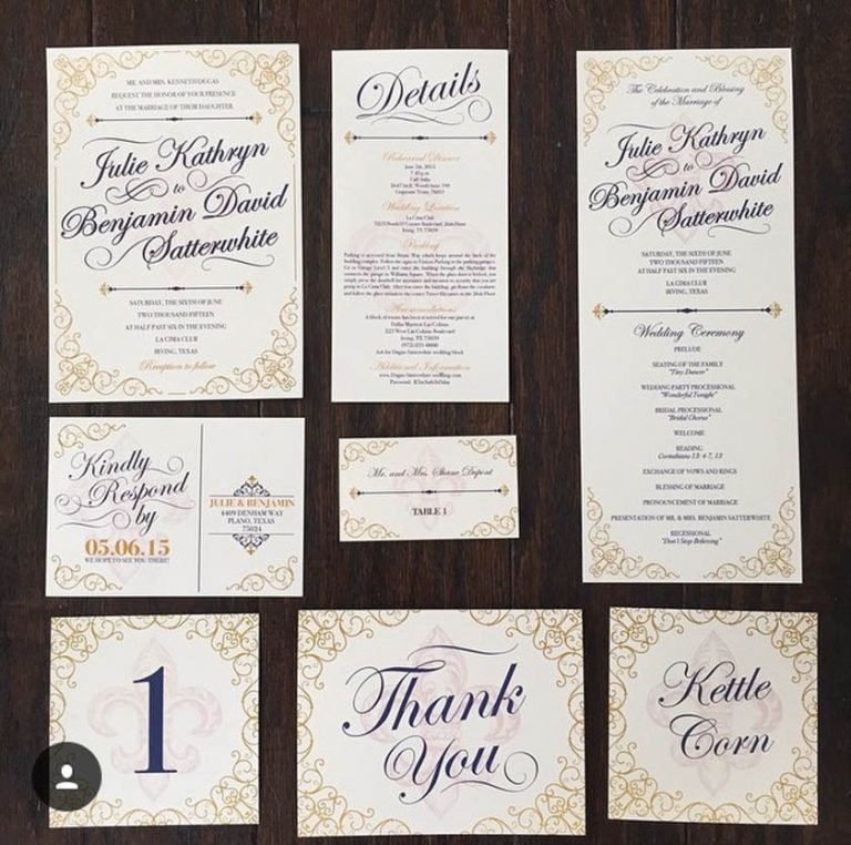 1-Navy, Gold, Ivory Fleur de Lis Wedding Invitations