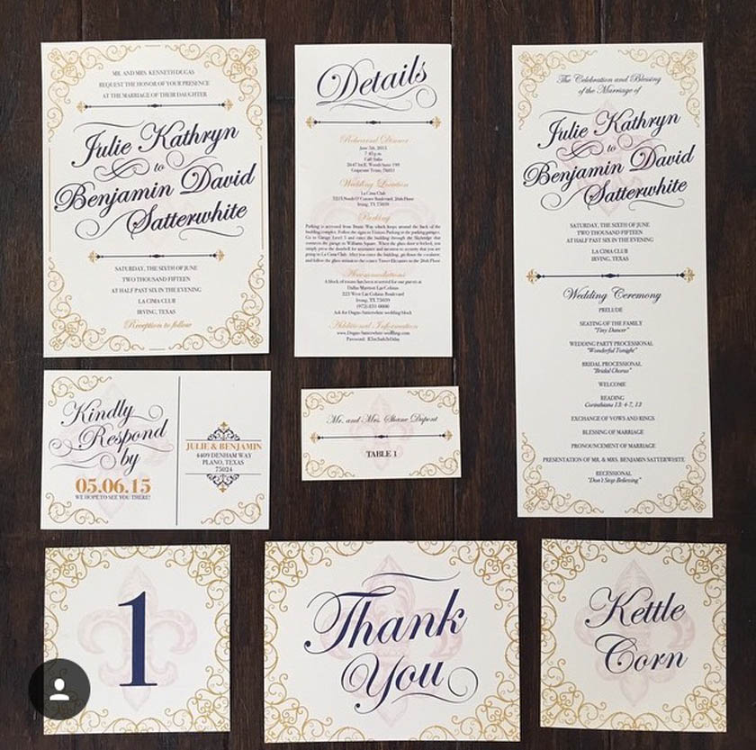 1 Navy, Gold, Ivory Fleur De Lis Wedding Invitations. 1 Navy, Gold, Ivory Fleur  De Lis Wedding Invitations