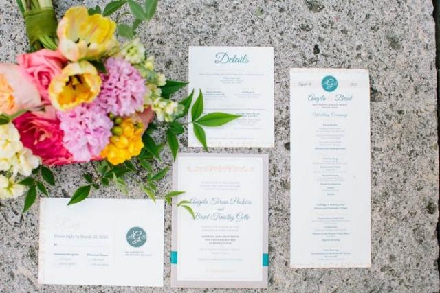 1-Teal, Peach, & Ivory Wedding Invitations