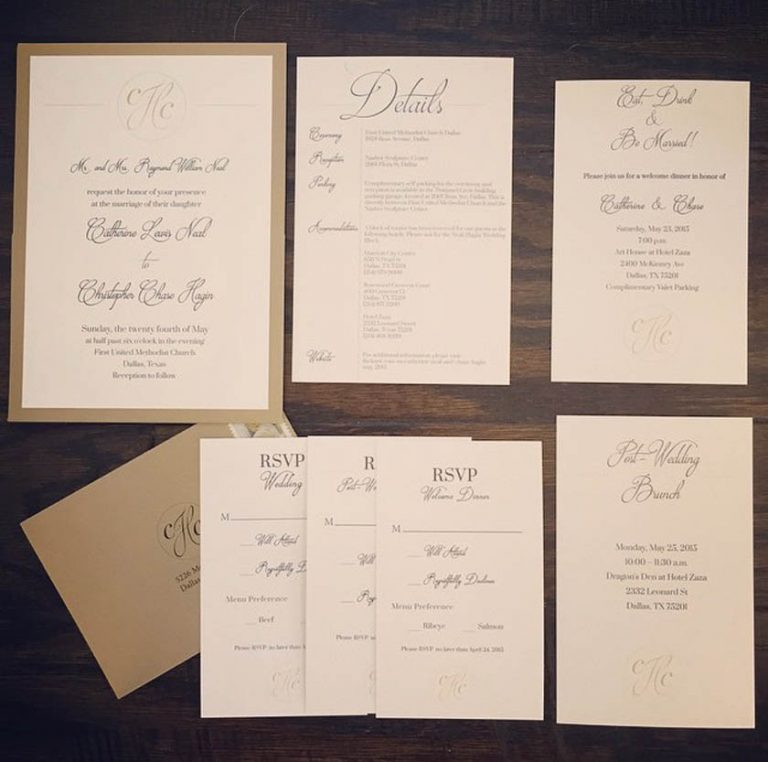 1-White & Gold Invitation