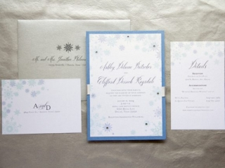 1-Winter Wonderland Wedding Invitations; Blue, White & SIlver Invitations; Snowflake Invitations