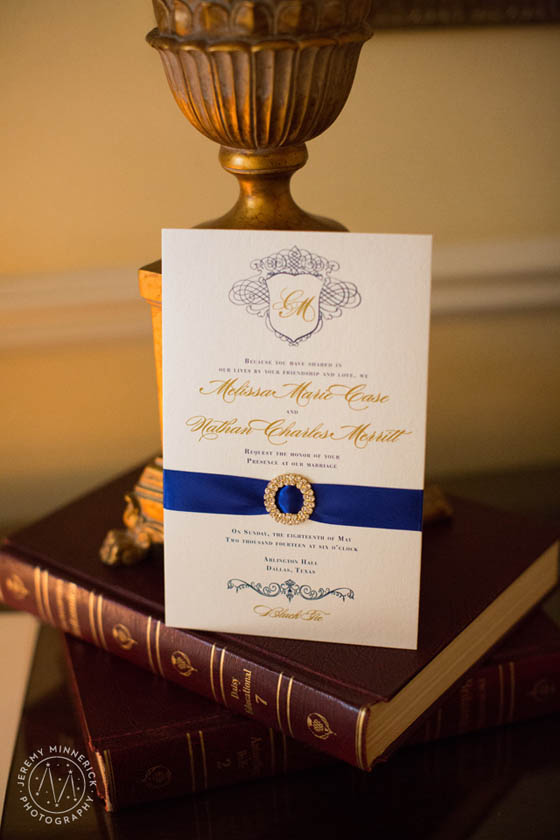 13-Ivory, Gold, Royal Blue, and Crystal Invitation
