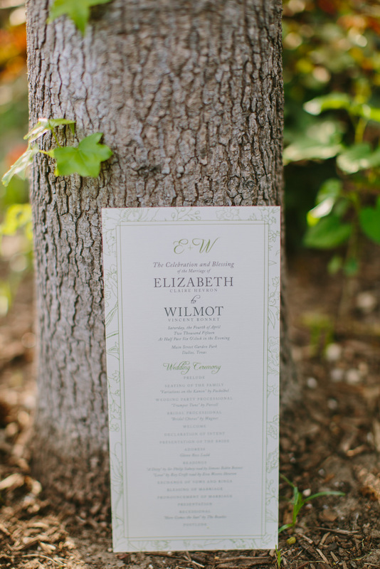 13-White & Green Wedding Program