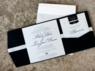 16-Black & White Wedding Invitation, Pocket Fold Wedding Invitation