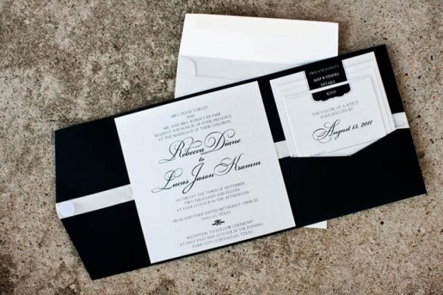 16-Black & White Wedding Invitation, Pocket Fold Wedding Invitation