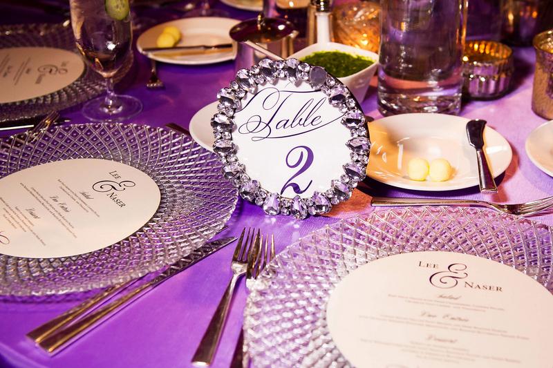 17-Purple & Fuchsia Wedding; Crystal Frames; Round Menus