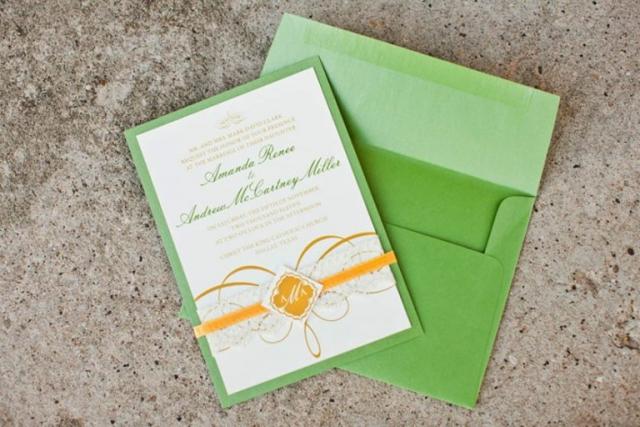 19-Green & Gold Wedding Invitation