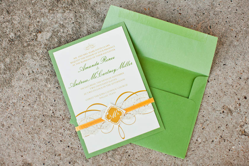 19-Green & Gold Wedding Invitation