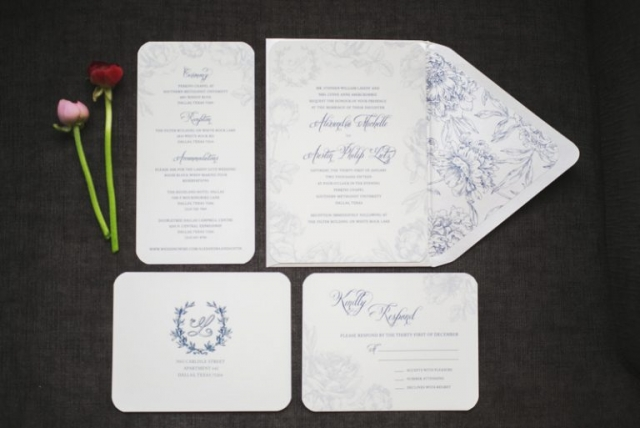 2-Blue Gray and White Wedding Invitations
