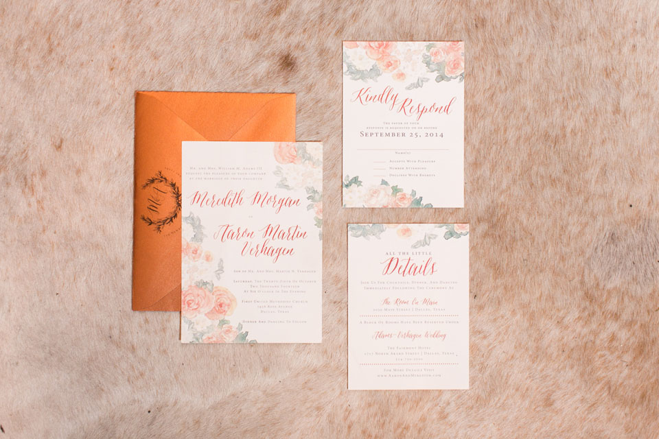2-Watercolor Invitations; Ivory & Copper Invitations