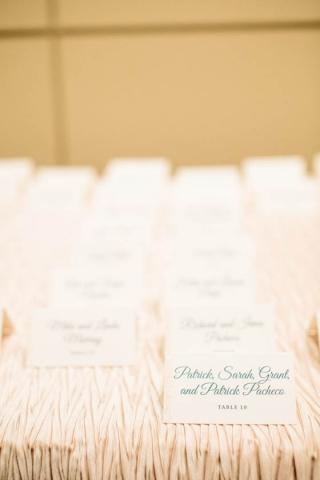 23A-Teal & Peach Escort Cards
