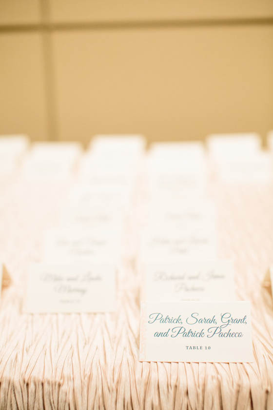 23A-Teal & Peach Escort Cards