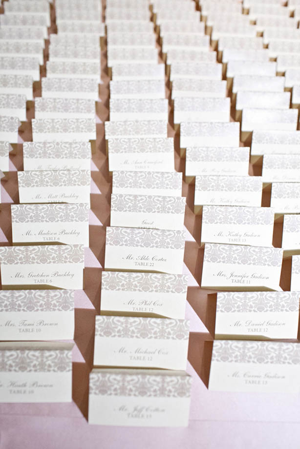 24-Taupe & Ivory Damask Escort Cards