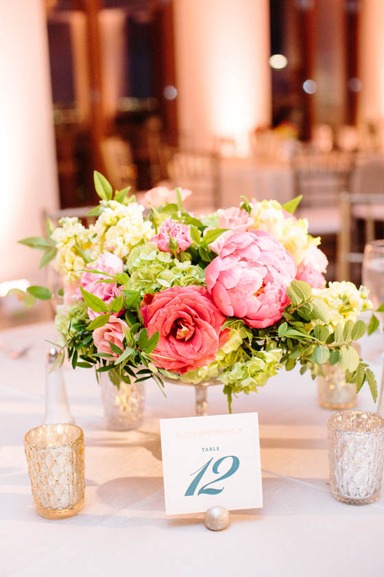 27-Coral, Peach, & Green Centerpiece