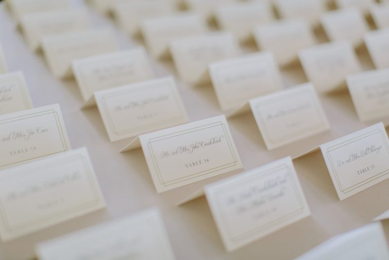 28-Green & White Escort Cards