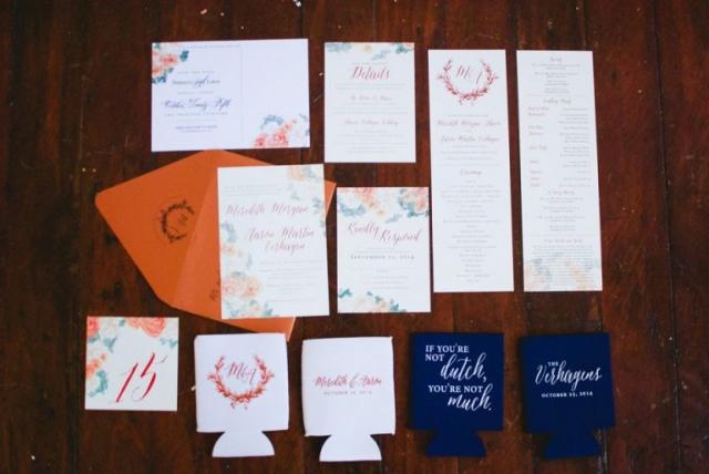 3-Watercolor Invitations; Copper & Ivory Wedding Invitations