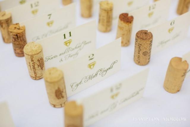 31-Italian Themed Wedding, Wine Cork Escort Cards, Ivory & Green Wedding