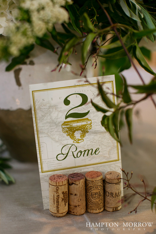 41-Italian Themed Wedding, Ivory, Green, & Gold Wedding, Wine Cork Table Numbers